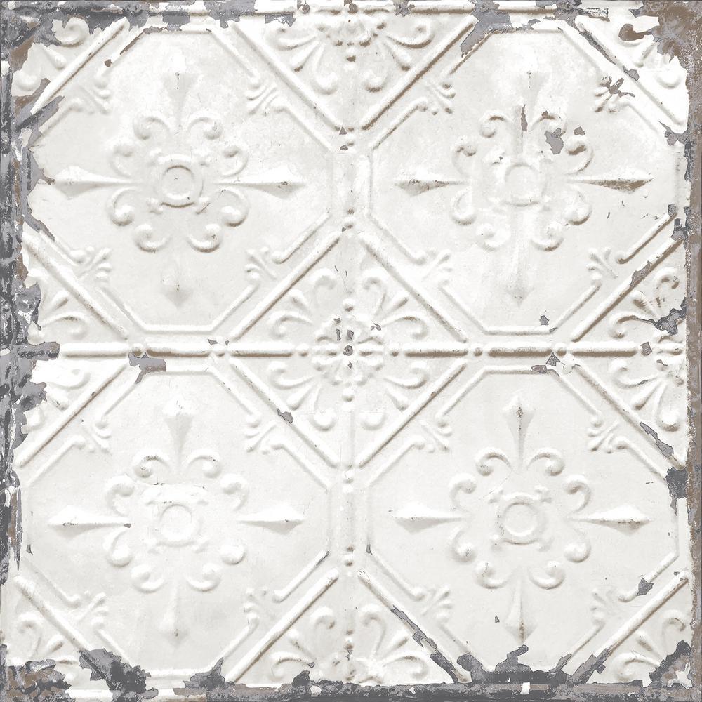 Vintage Tin Tile Peel and Stick White & Off-White Wallpaper Sample