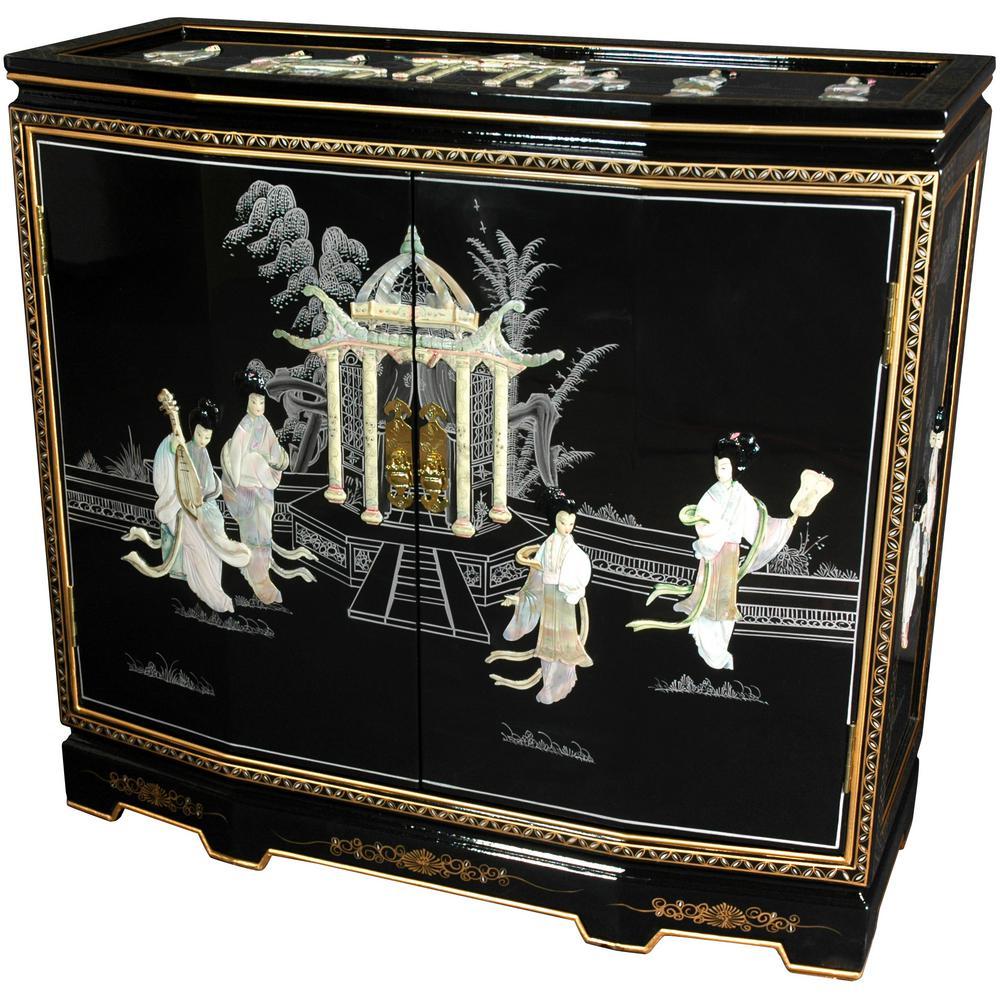 Oriental Furniture Black Lacquer Ladies Design Slant Front Cabinet