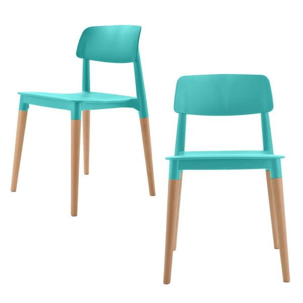 CozyBlock Bel Series Turquoise Modern Accent Dining Side Chair with Beech Wood Leg (Set of 2)