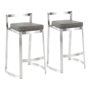 Lumisource Fuji 30 In Stainless Steel Stackable Bar Stool