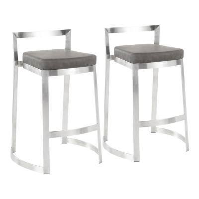 Fuji DLX 28 in. Stainless Steel Counter Stool with Marbled Grey Faux Leather Cushion (Set of 2)