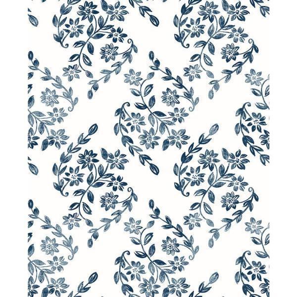 A-Street 8 in. x 10 in. Arabesque Blue Floral Trail Wallpaper