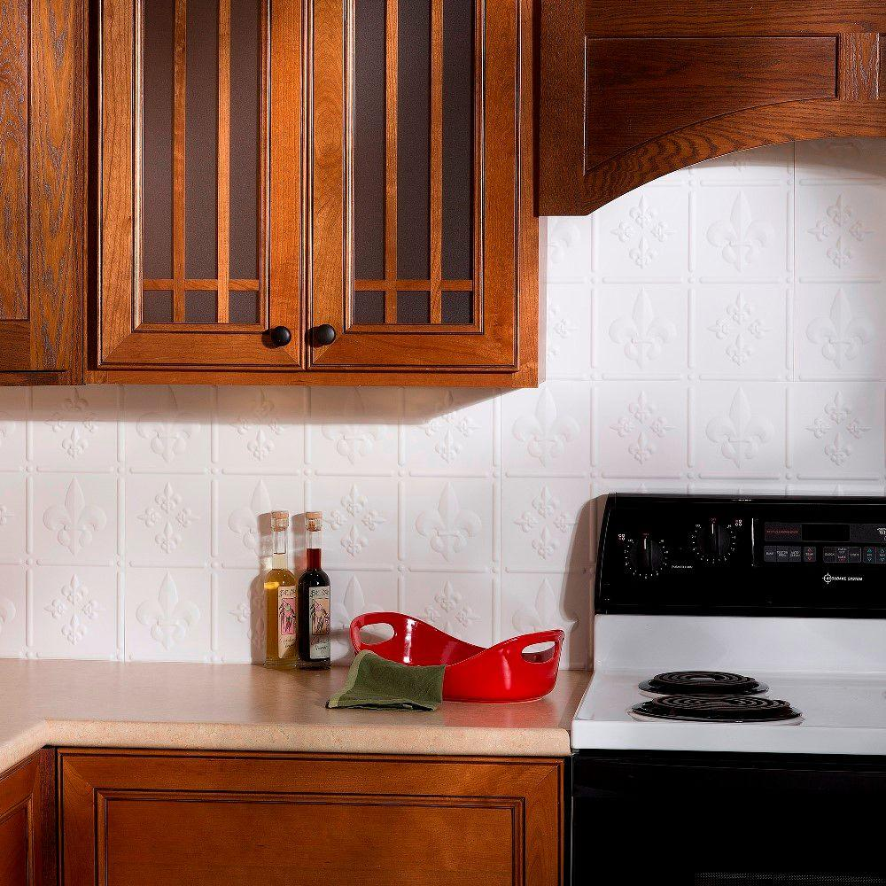 thermoplastic panels kitchen backsplash fasade 24 in x 18 in fleur de lis pvc decorative tile 6095