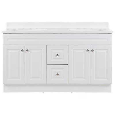 Glensford 61 in. W x 22 in. D Vanity in White with Cultured Marble Vanity Top in White with White Sinks