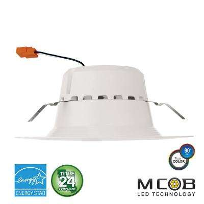 5 in. and 6 in. 75-Watt Equivalent 13.5-Watt, Matte White Dimmable Recessed Integrated LED Downlight Trim