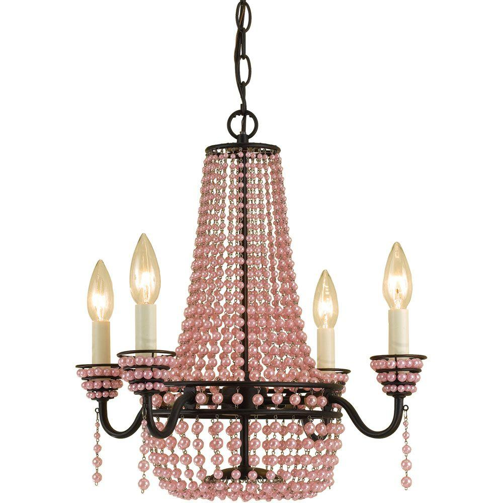 Pink chandeliers lighting the home depot parlor 4 light oil rubbed bronze mini chandelier with pink bead accents arubaitofo Gallery