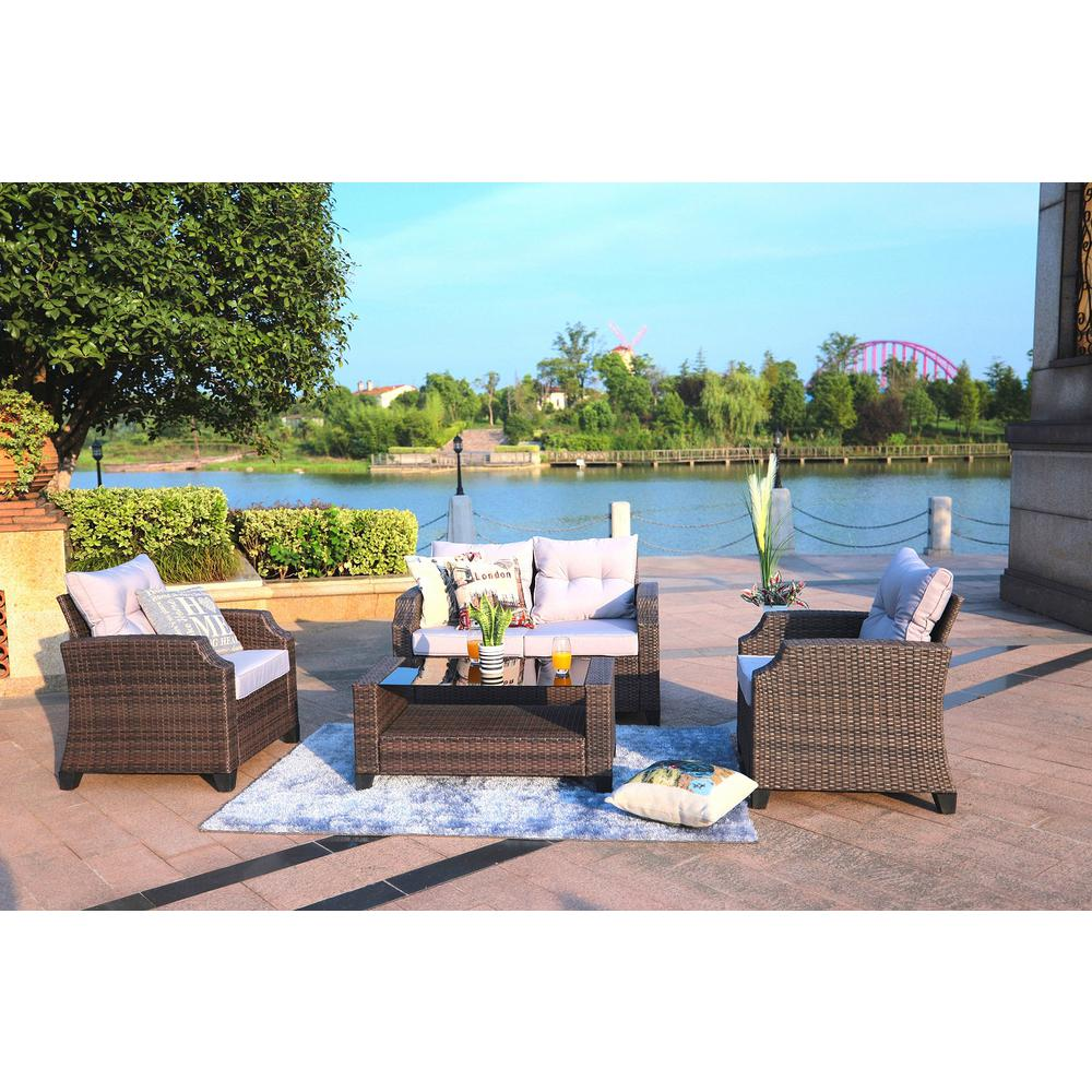 Baptist 4 piece wicker patio conversation set with grey cushions