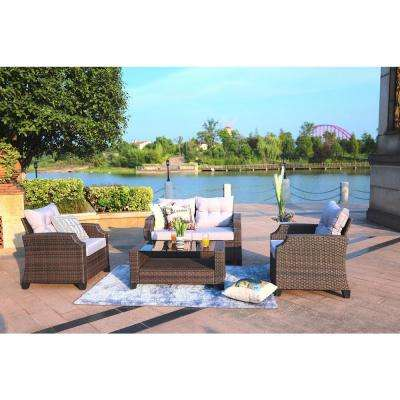 Baptist 4-Piece Wicker Patio Conversation Set with Grey Cushions