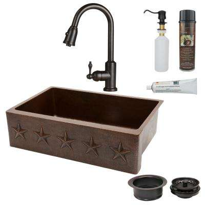 All-in-One Undermount Hammered Copper 33 in. 0-Hole Single Bowl Kitchen Sink with Star Design in Oil Rubbed Bronze