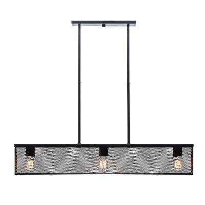 32 in. 3-Light Black Linear Ceiling Pendant with Metal Mesh Shade
