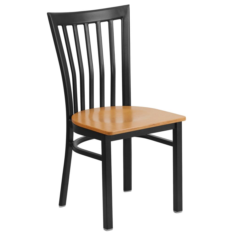 Incroyable Flash Furniture Hercules Series Black School House Back Metal Restaurant  Chair   Natural Wood Seat