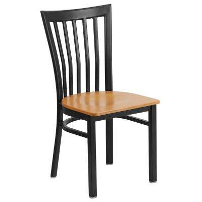 Hercules Series Black School House Back Metal Restaurant Chair with Natural Wood Seat