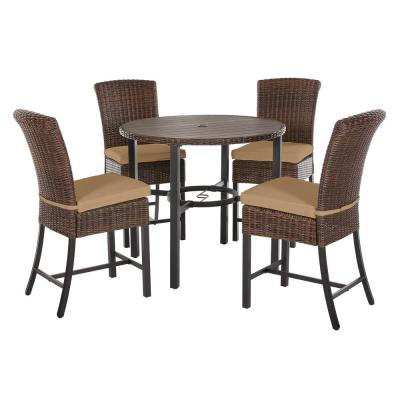 Harper Creek 5-Piece Brown Steel Outdoor Patio Bar Height Dining Set with CushionGuard Toffee Tan Cushions
