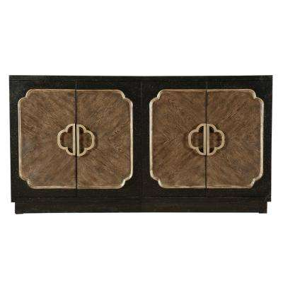 Traditional Distressed Chocolate 4-Door Credenza