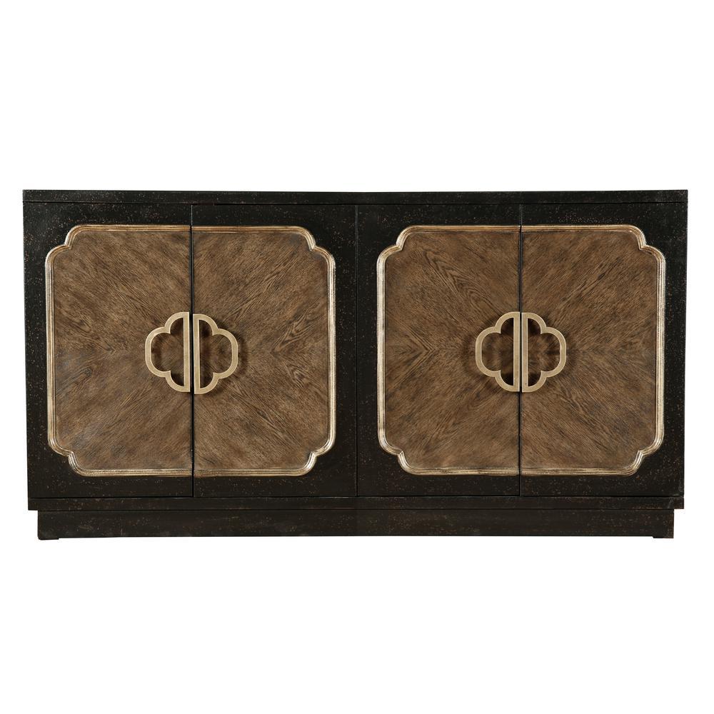 Pulaski Furniture Traditional Distressed Chocolate 4-Door Credenza D153-128