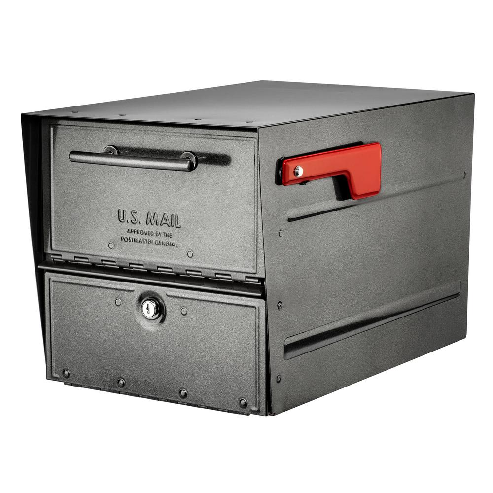 Architectural Mailboxes Oasis Eclipse Pewter Locking Parcel Mailbox with Red Flag