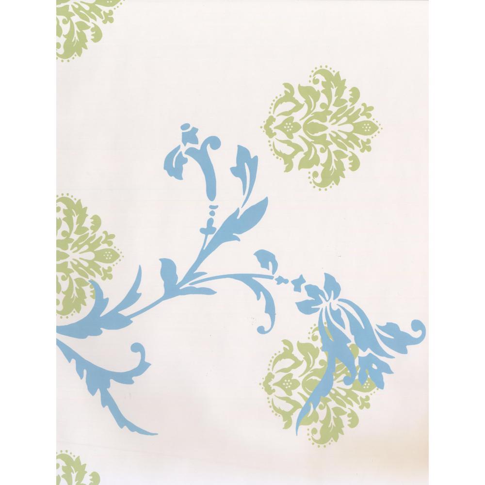 Cerulean Blue Olive Green Abstract Damask Vine Scrolls Beige Prepasted Wallpaper Border