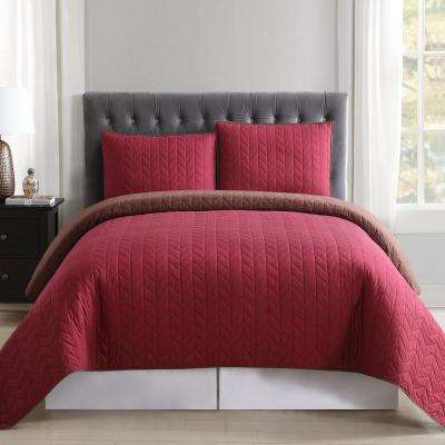 Burgundy and Brown Reversible Twin XL Quilt Set