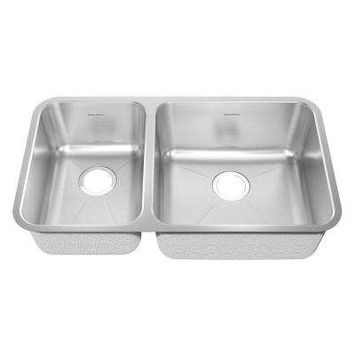 Prevoir Undermount Brushed Stainless Steel 33 in. Double Bowl Kitchen Sink