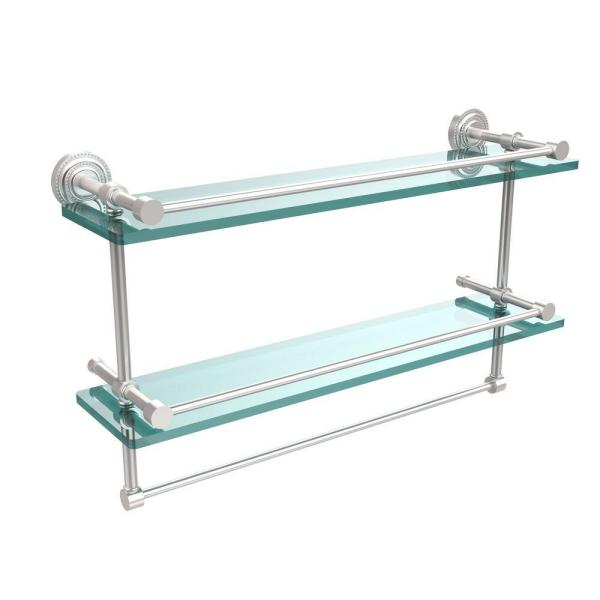 Allied Brass Dottingham 22 In L X 12 In H X 5 In W 2 Tier Gallery Clear Glass Bathroom Shelf With Towel Bar In Satin Chrome Dt 2tb 22 Gal Sch The Home Depot
