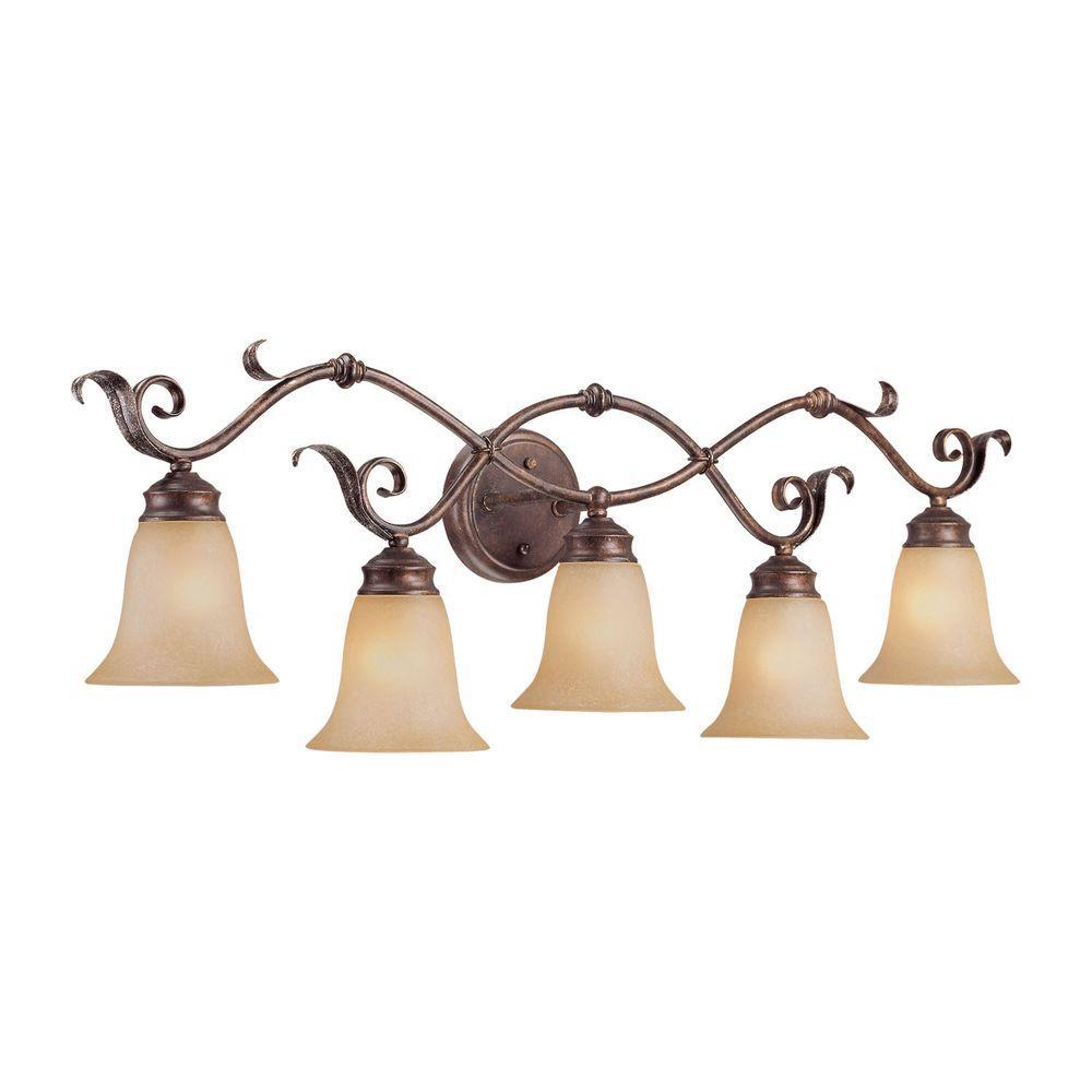 5-Light Burled Bronze/Silver Vanity Light with Florentine Scavo Glass