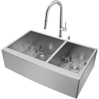 Farmhouse Apron Front Stainless Steel 36 in. Double Bowl Kitchen Sink and Faucet Set in Stainless Steel/Chrome