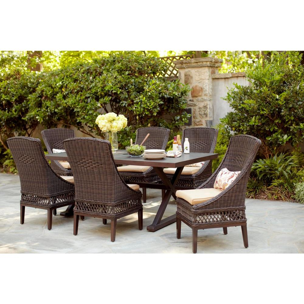 Hampton Bay Woodbury 7 Piece Wicker Outdoor Patio Dining Set With Textured Sand Cushions D9127 7pc The Home Depot