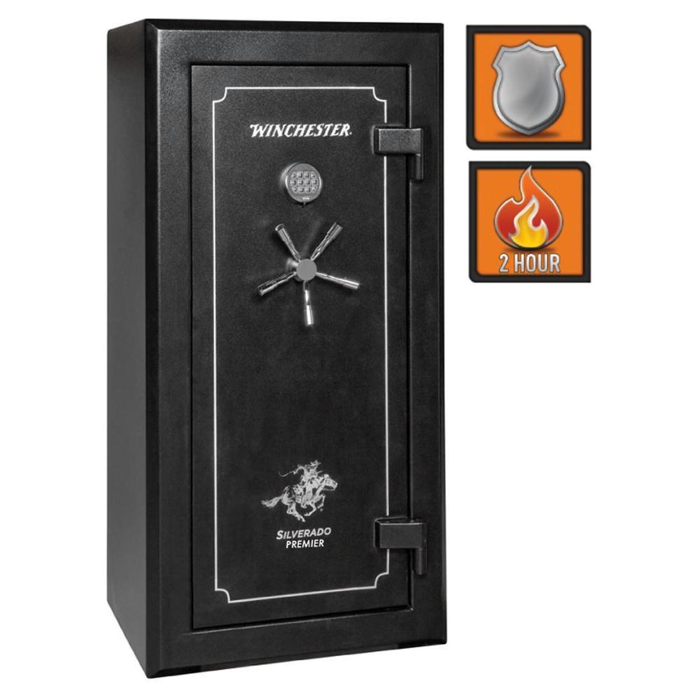 Winchester Safes Silverado Premier 23 24-Gun Black Gloss Fire-Safe Electronic Lock