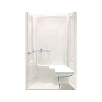 Transfer Shower 39-3/8 in. x 39-3/8 in. x 73-1/4 in. 4-piece Shower Kit in Biscuit