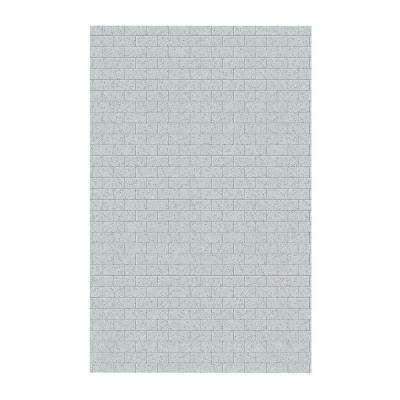 Subway Tile 62 in. x 96 in. 1-Piece Easy Up Adhesive Shower Panel in Tahiti Gray