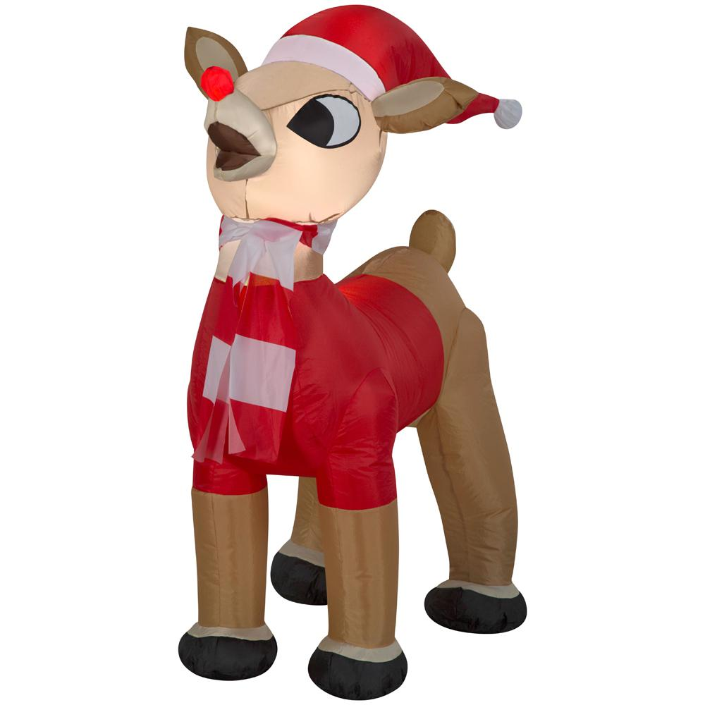 Inflatable Airblown-Standing Rudolph in Santa Outfit