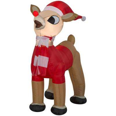 42 in. Inflatable Airblown-Standing Rudolph in Santa Outfit