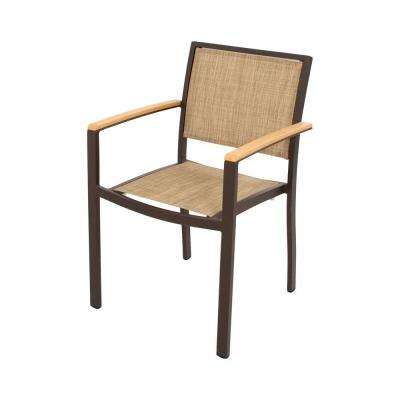 Bayline Textured Bronze/Plastique/Burlap Sling Patio Dining Arm Chair