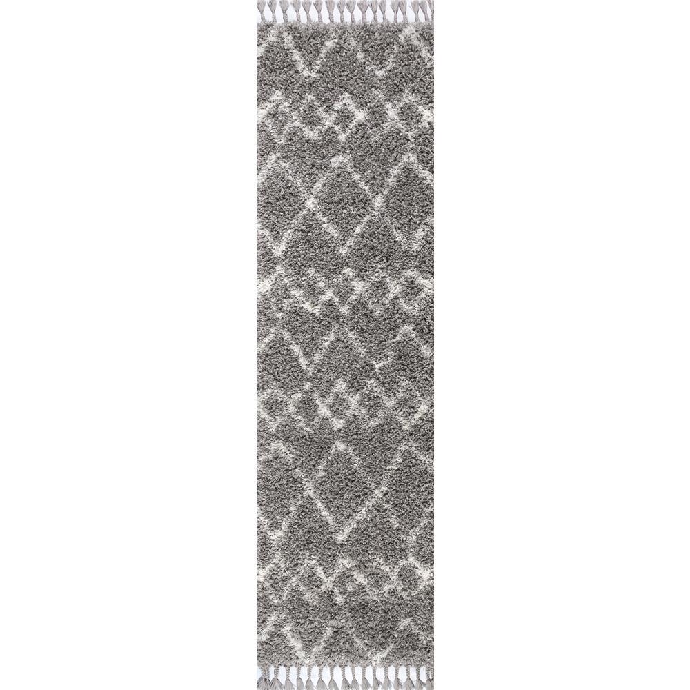 JONATHAN Y Mercer Shag Plush Tassel Moroccan Tribal Geometric Trellis Grey/Cream 2 ft. x 8 ft. Runner Rug