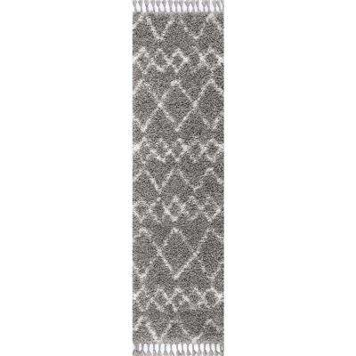 Mercer Shag Plush Tassel Moroccan Tribal Geometric Trellis Grey/Cream 2 ft. x 8 ft. Runner Rug