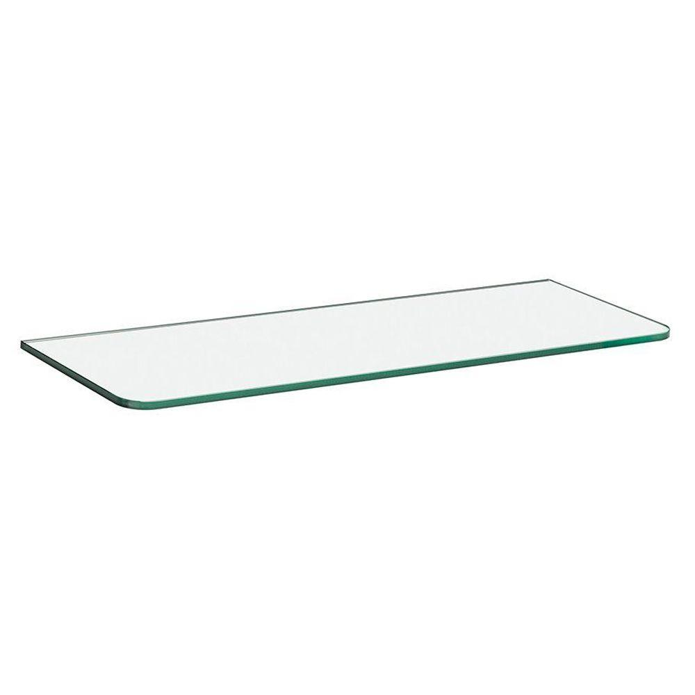 Dolle 23-1/2 in. x 8 in. x 5/16 in. Standard Glass Line Shelf in Clear