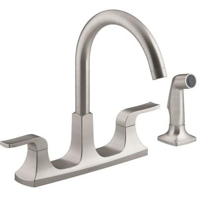 Rubicon 2-Handle Standard Kitchen Faucet with Sidespray in Vibrant Stainless