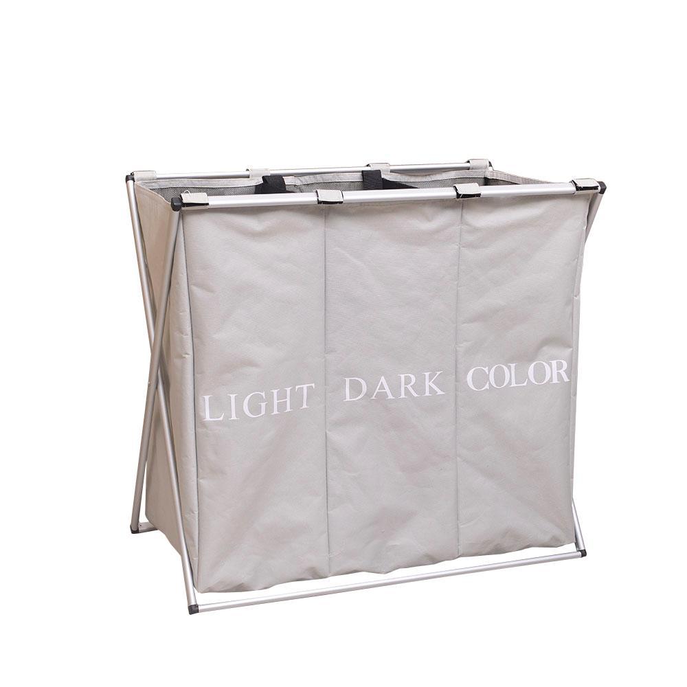 Light Gray Fabric Portable 3-Lattice Laundry Basket