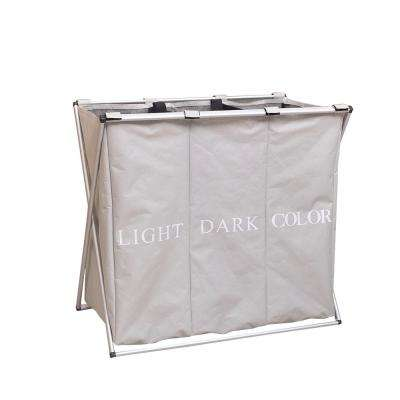 Light Gray Fabric Portable 3-Lattice Laundry Basket