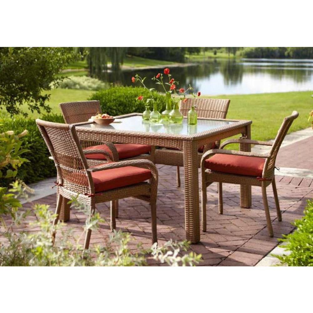 Martha Stewart Living Charlottetown Natural 5 Piece All Weather Wicker  Outdoor Patio Dining Set With Quarry Red Cushion 65 55651   The Home Depot