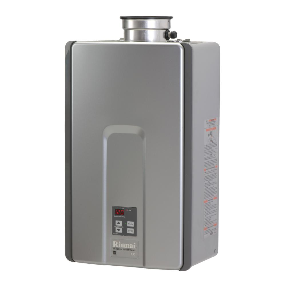 Rinnai High Efficiency Plus 75 GPM Residential 180000 BTU Natural Gas Interior Tankless Water Heater