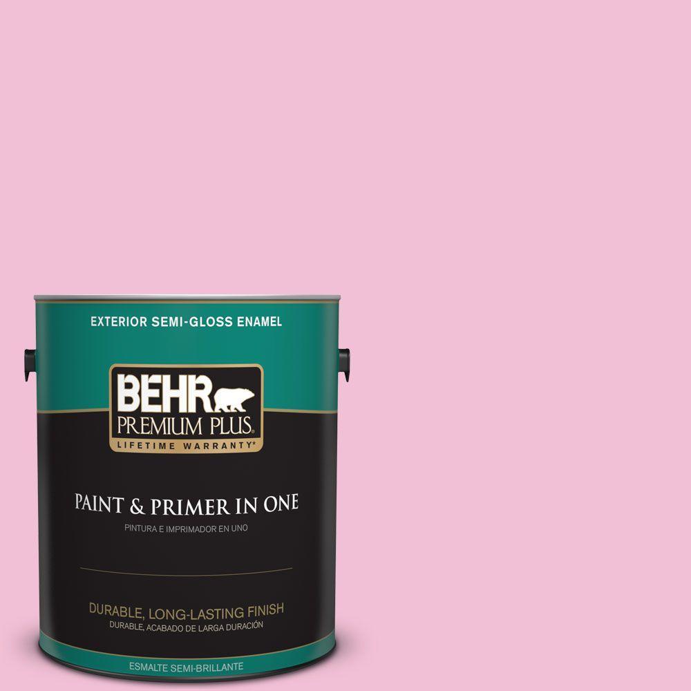 1-gal. #100B-4 Pink Chintz Semi-Gloss Enamel Exterior Paint