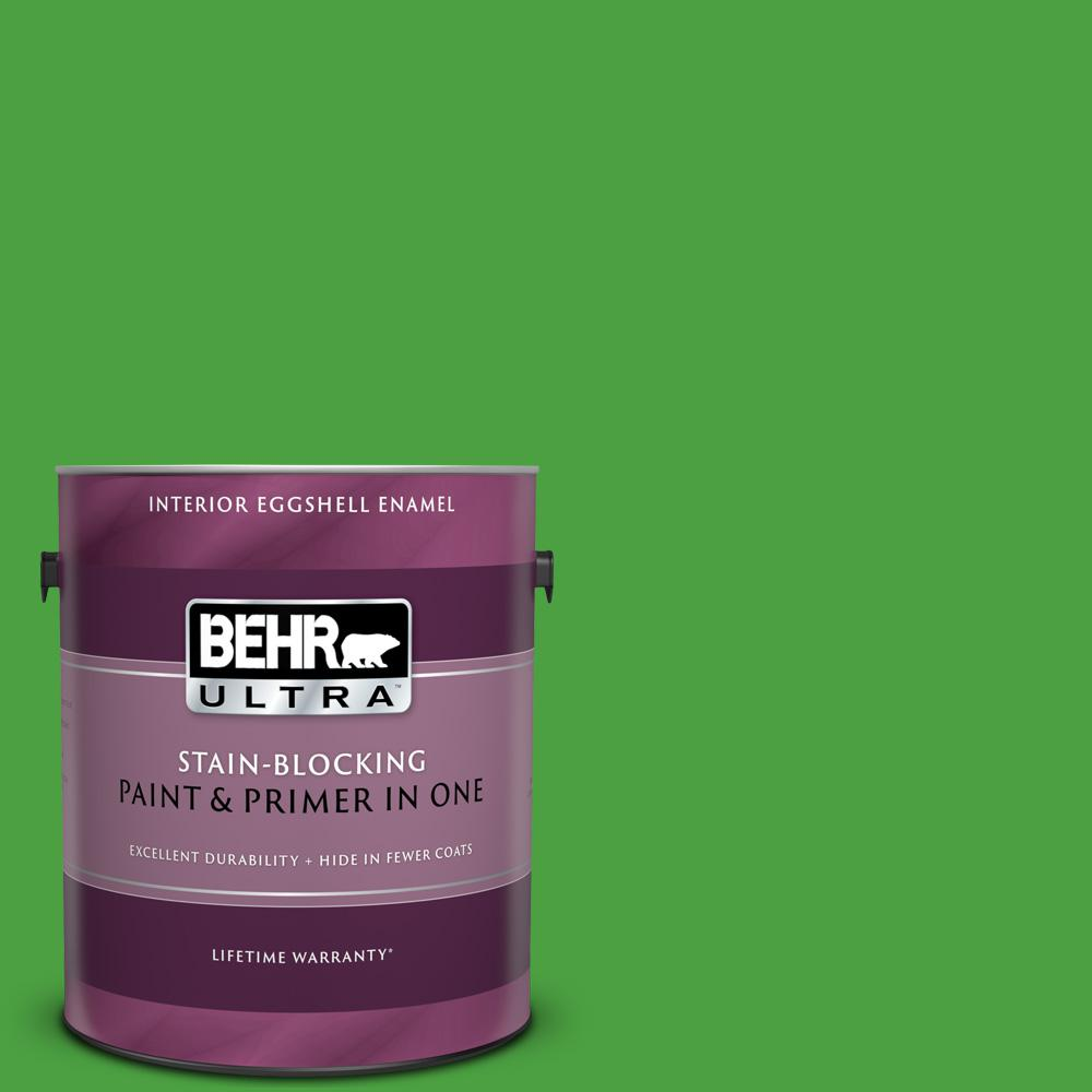 Behr Ultra 1 Gal S G 440 Green Acres Eggshell Enamel Interior Paint And Primer In One 275301 The Home Depot