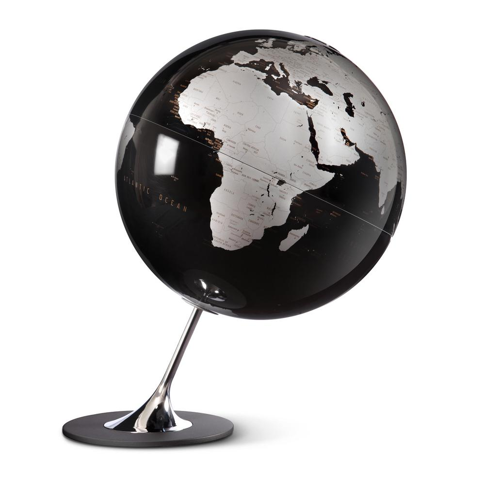 Waypoint Geographic Anglo 10 in. Decorative Desktop Globe in Black The Anglo is a 10 globe with a minimalistic map design, giving way to feature its silver color landmass and black ocean coloring with metal chromed steel inclination mount and no slip platform. The angled mounting and base are solid and weighted to keep the globe from tipping over. This globe is an excellent addition to a bookshelf or desk in which a modern design is desired.You will find single content coloring with up-to-date countries labeled and delineated by line. This globe makes a great reference tool as well as a decorative accent.Add a touch of color to your room with this decorative globe.