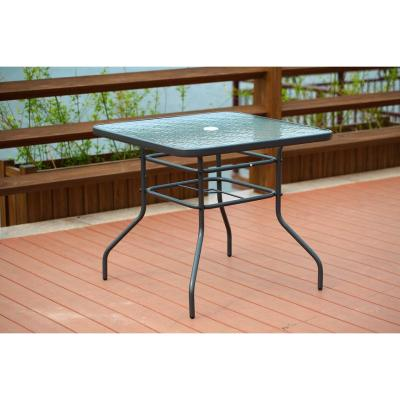 Black Square Steel Frame Patio Outdoor Bistro Table