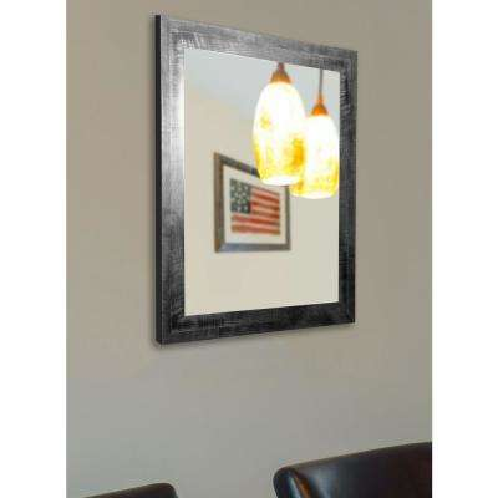 38 in. x 28 in. Black Smoke Non Beveled Vanity Wall Mirror