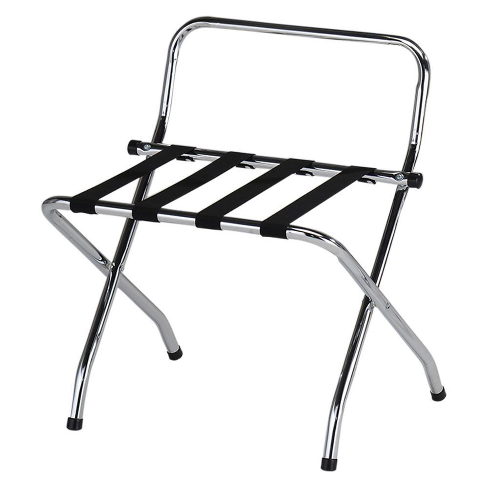 Kings Brand Furniture Dark Bronze Metal Folding Luggage Rack With Shelf 061krl The Home Depot