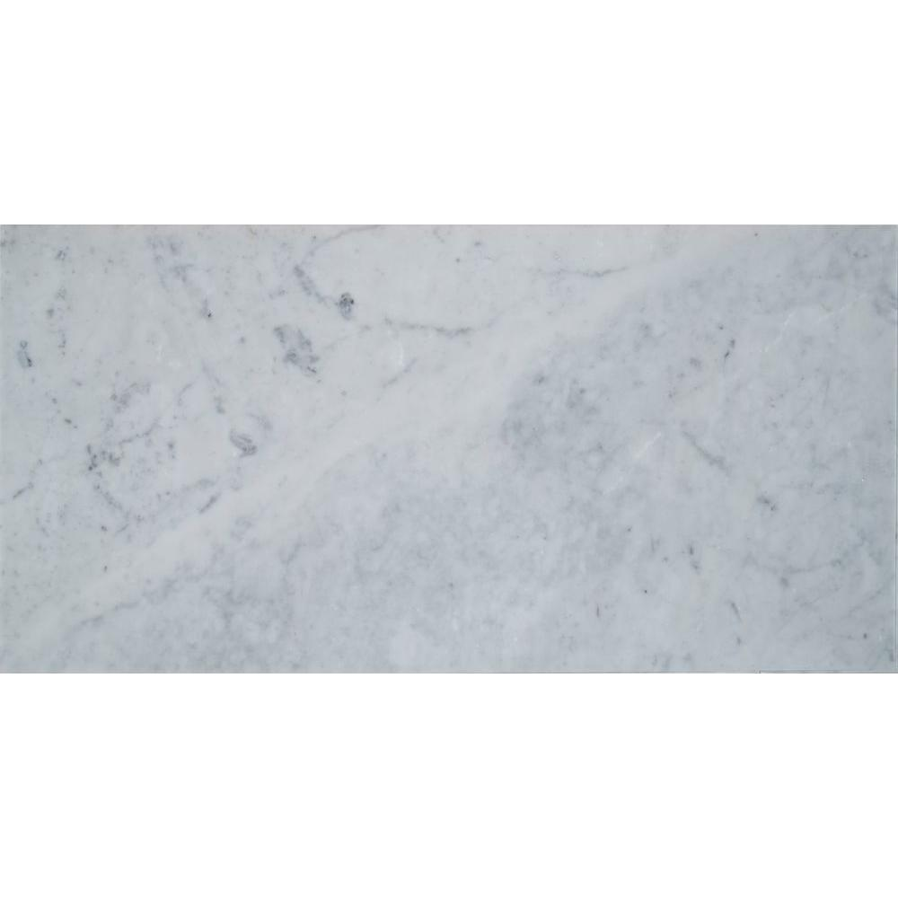 Carrara White 12 in. x 24 in. Polished Marble Floor and