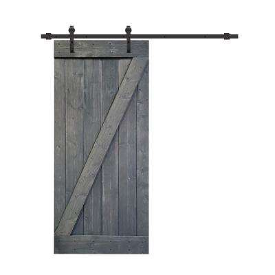Z Series 30 in. x 84 in. Gray Knotty Pine Wood Interior Sliding Barn Door with Hardware Kit