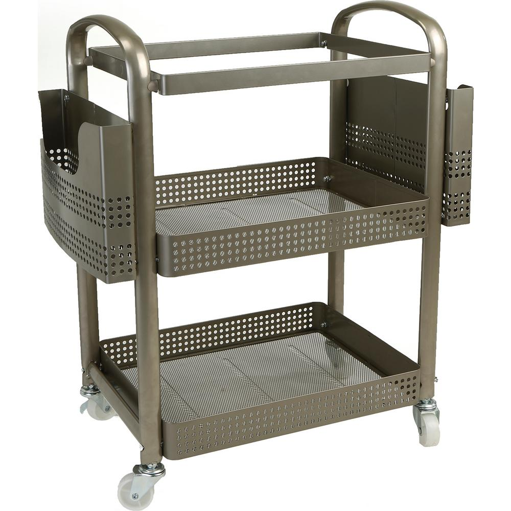 8a2219bf06af Mind Reader 2-Tier Heavy Duty Metal 4-Wheeled Mobile File Cart in Silver